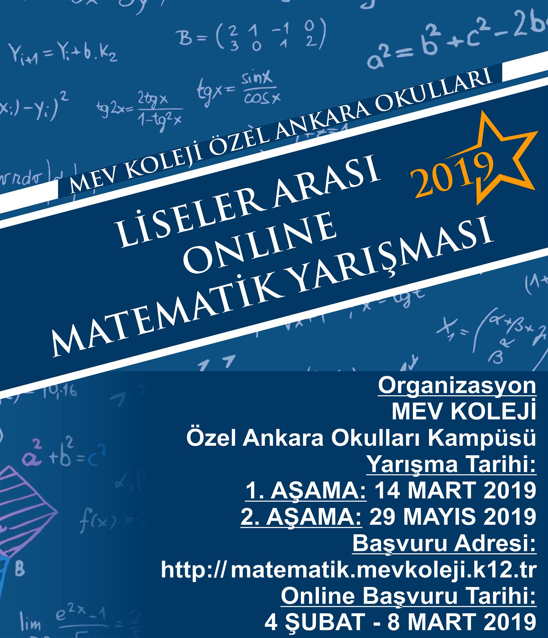 MEV Koleji Özel Ankara Okulları Liseler Arası Online Matematik Yarışması-2019