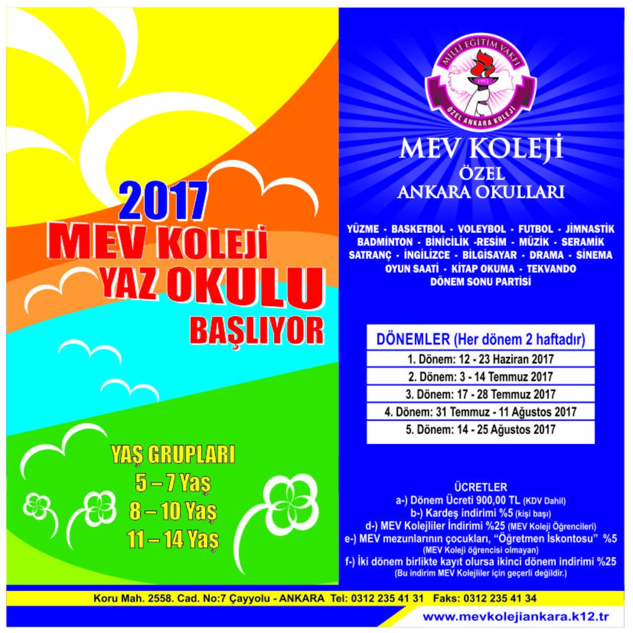 MEV Koleji Yaz Okulu Başlıyor